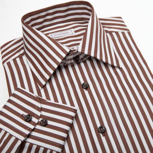 58386605c0ae Pánska košeľa Slim hnedá v prúžku s hnedými gombíkmi