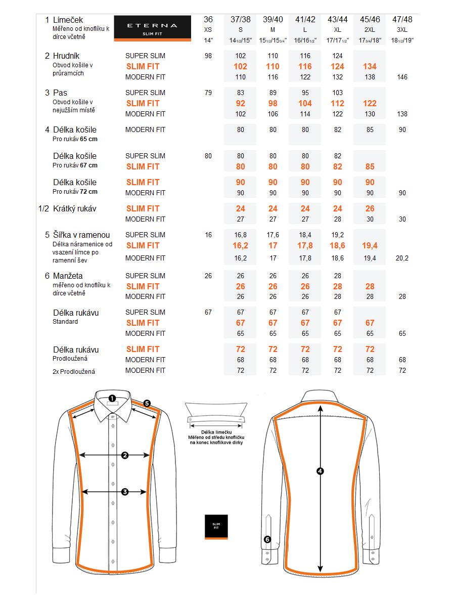 1ea41f52c40d Velikostní tabulka pánské košile ETERNA Slim Fit a srovnání s ETERNA Super  Slim a ETERNA Modern