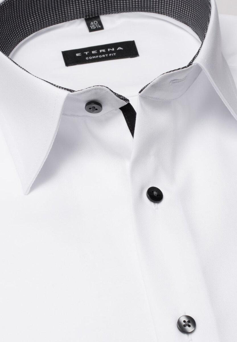 ec009ff09542 Pánska košeľa ETERNA Comfort Fit Royal Oxford biela s antracit kontrastom  Non Iron