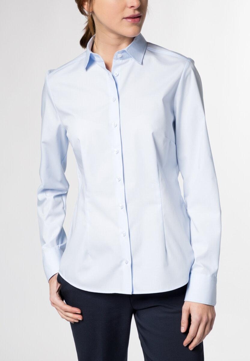 c374547362f4 Dámska svetlo modrá košeľa dlhý rukáv Popelín ETERNA Modern Classic 100%  bavlna Non Iron