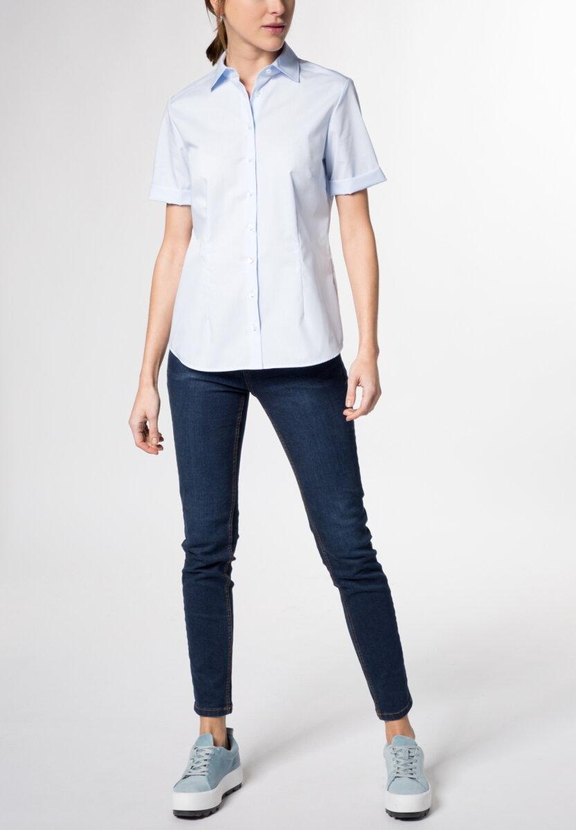 cd711d68f809 Dámska košeľa krátky rukáv svetlo modrá Popelín ETERNA Modern Classic 100%  bavlna Non Iron