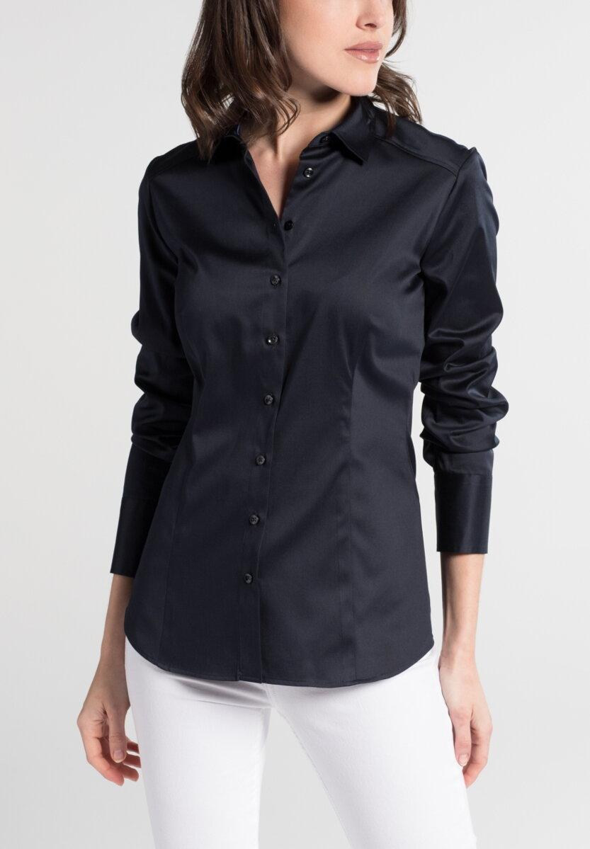 91efbcf06c1f Saténová tmavo modrá dámska košeľa Navy dlhý rukáv ETERNA Slim Fit stretch  bavlna Easy Iron