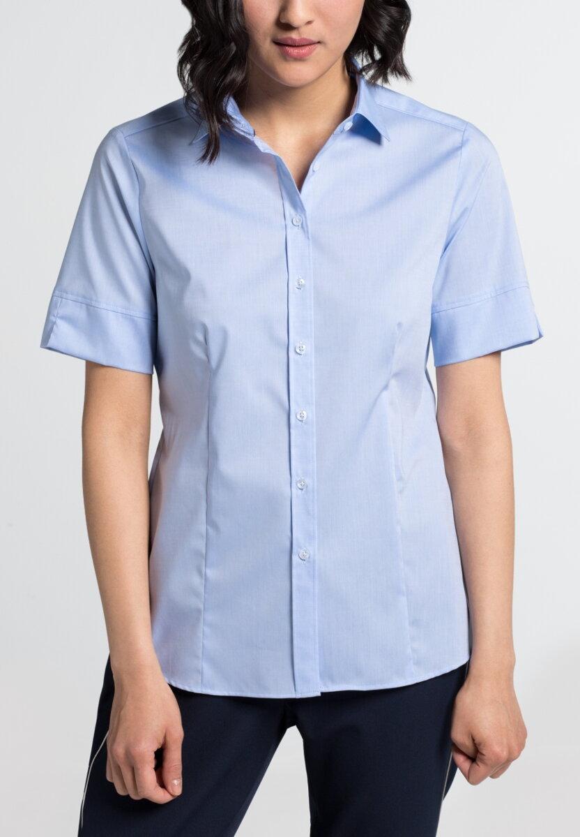 103eccaa7bf3 Dámska košeľová blúzka ETERNA Modern Classic svetlo modrá stretch bavlna  Easy Iron s krátkym rukávom