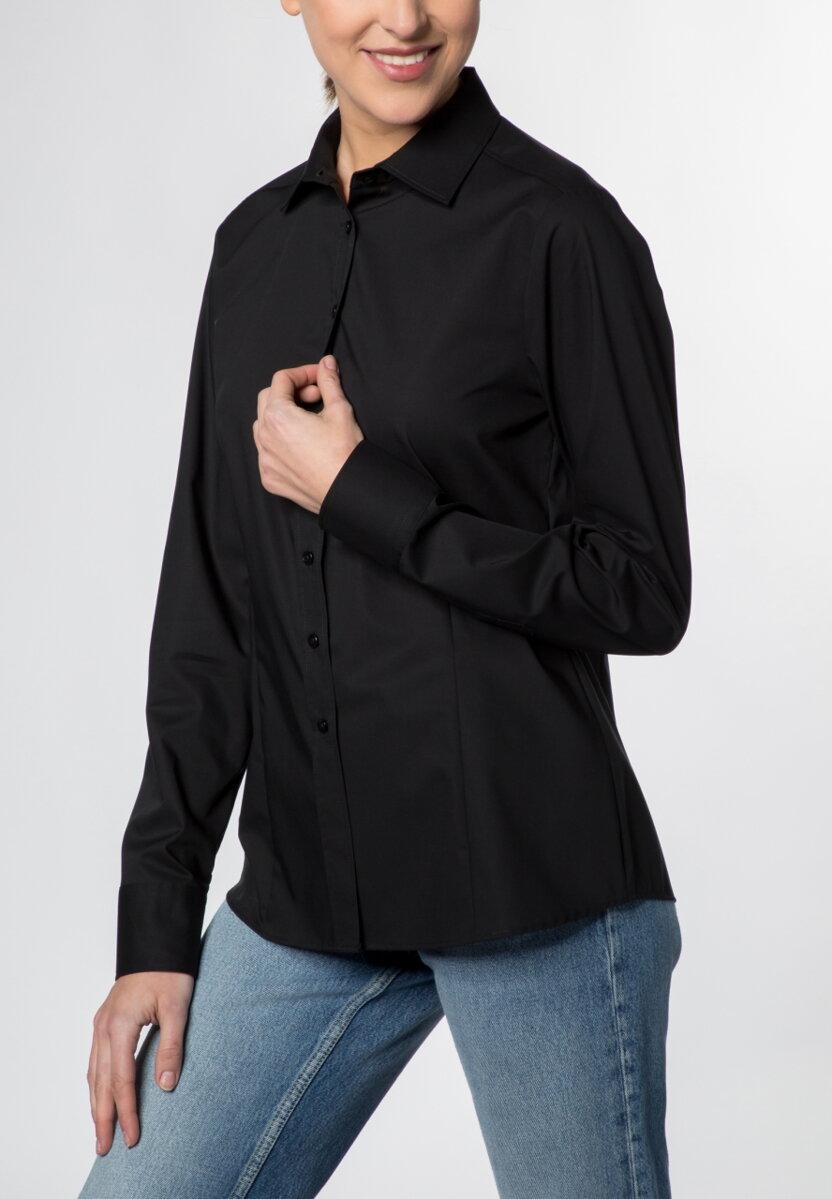 602fb0085dc7 Čierna jednofarebná dámska blúzka dlhý rukáv ETERNA Modern Classic stretch  bavlna Non Iron