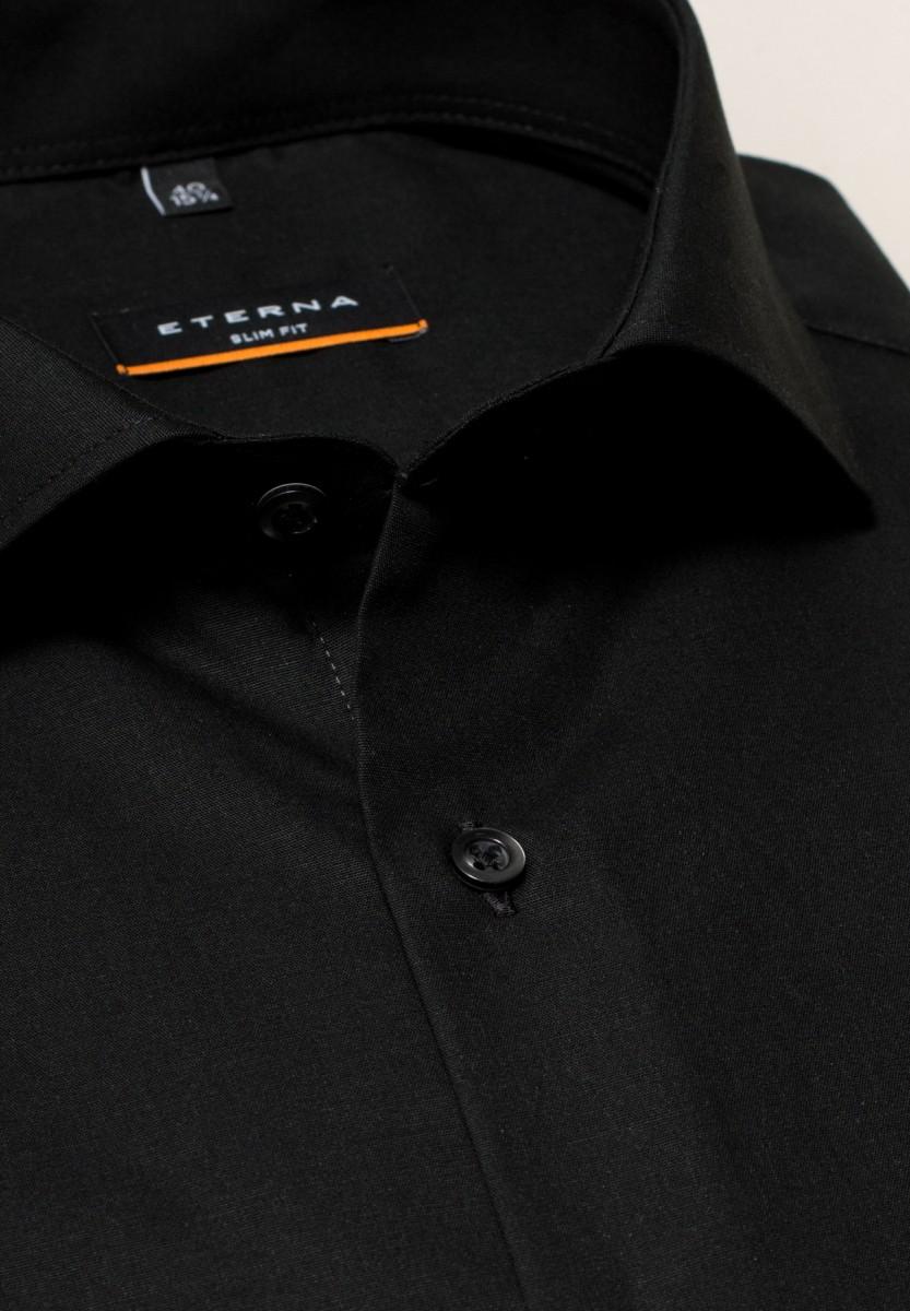 ffbab3a8ff86 ETERNA Slim Fit čierna košeľa pánska dlhý rukáv Popelín