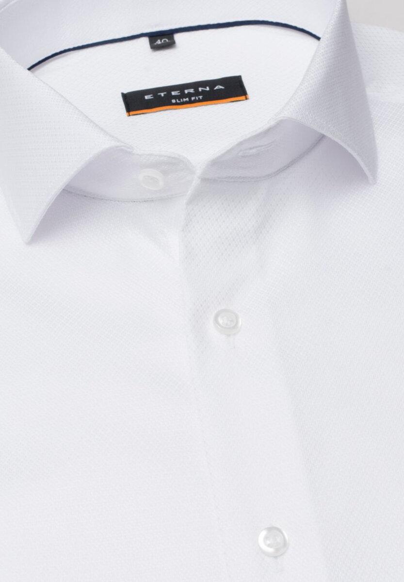 77172dccdf93 ETERNA Slim Fit biela košeľa s tkaným vzorom tón v tóne Non Iron Stretch