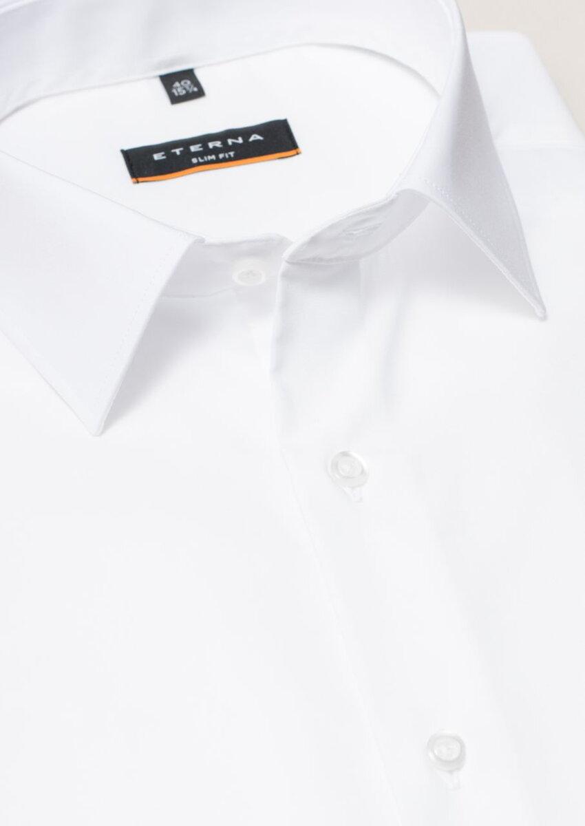 e2602ad96b85 ETERNA Slim Fit stretch košeľa pánska čisto biela nežehlivá úprava golier  Kent
