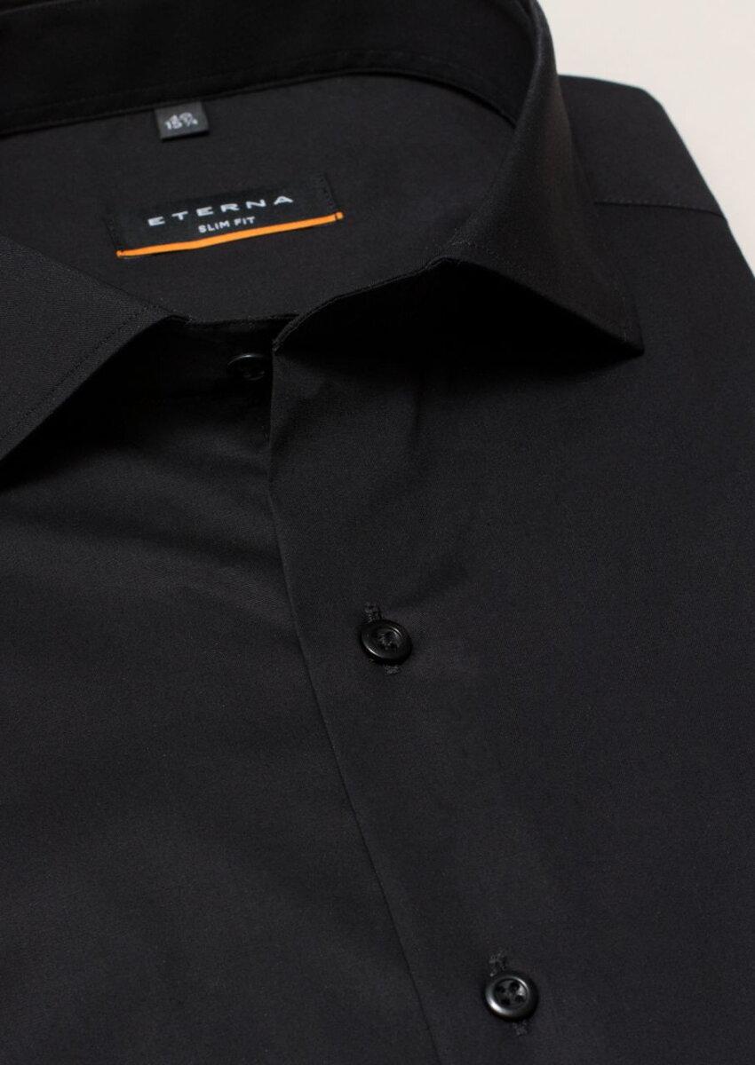 94cfe229a858 Čierna pánska košeľa ETERNA Slim Fit stretch nežehlivá úprava Business  golier