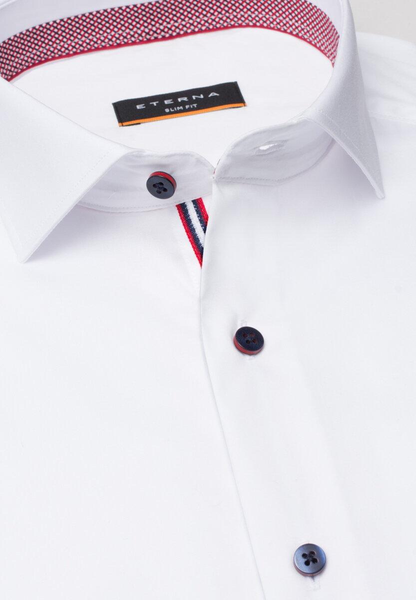 a49e204ad30f Smart Casual košeľa ETERNA Slim Fit stretch biela s červeným kontrastom Non  Iron Business golier