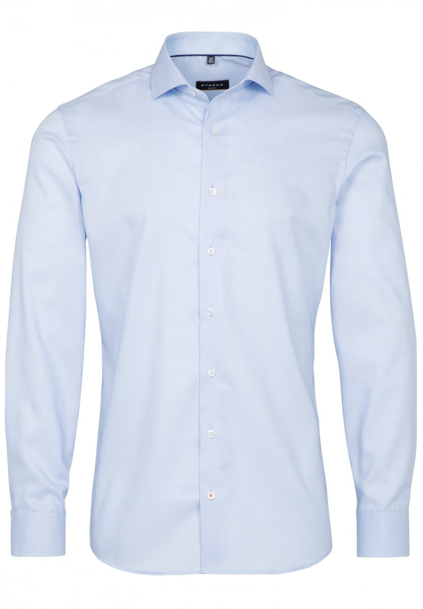 e79a8c681c3d Extra prodloužený rukáv Business košile ETERNA Slim Fit stretch modrá  károvaná s kontrastem Non iron ...