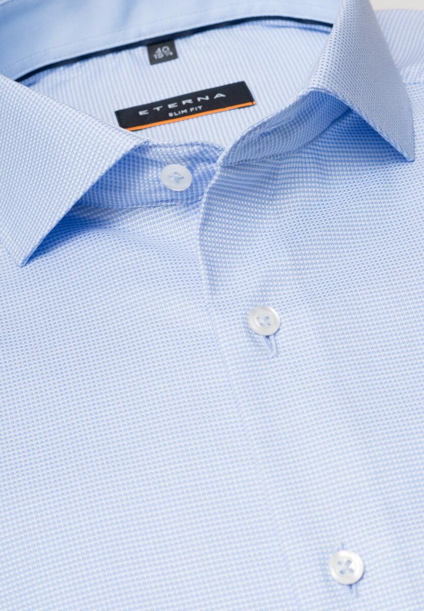 9e06aa565603 Business košeľa ETERNA Slim Fit stretch modrá károvaná s kontrastom Non  iron - 2x predľžený rukáv 72 cm