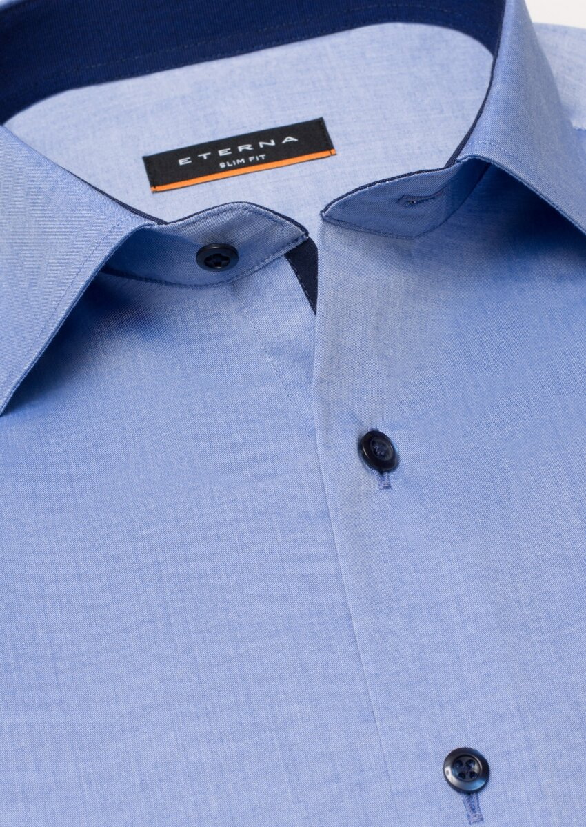 cceff38adfd8 Business Casual košeľa ETERNA Slim Fit stretch modrá s kontrastom