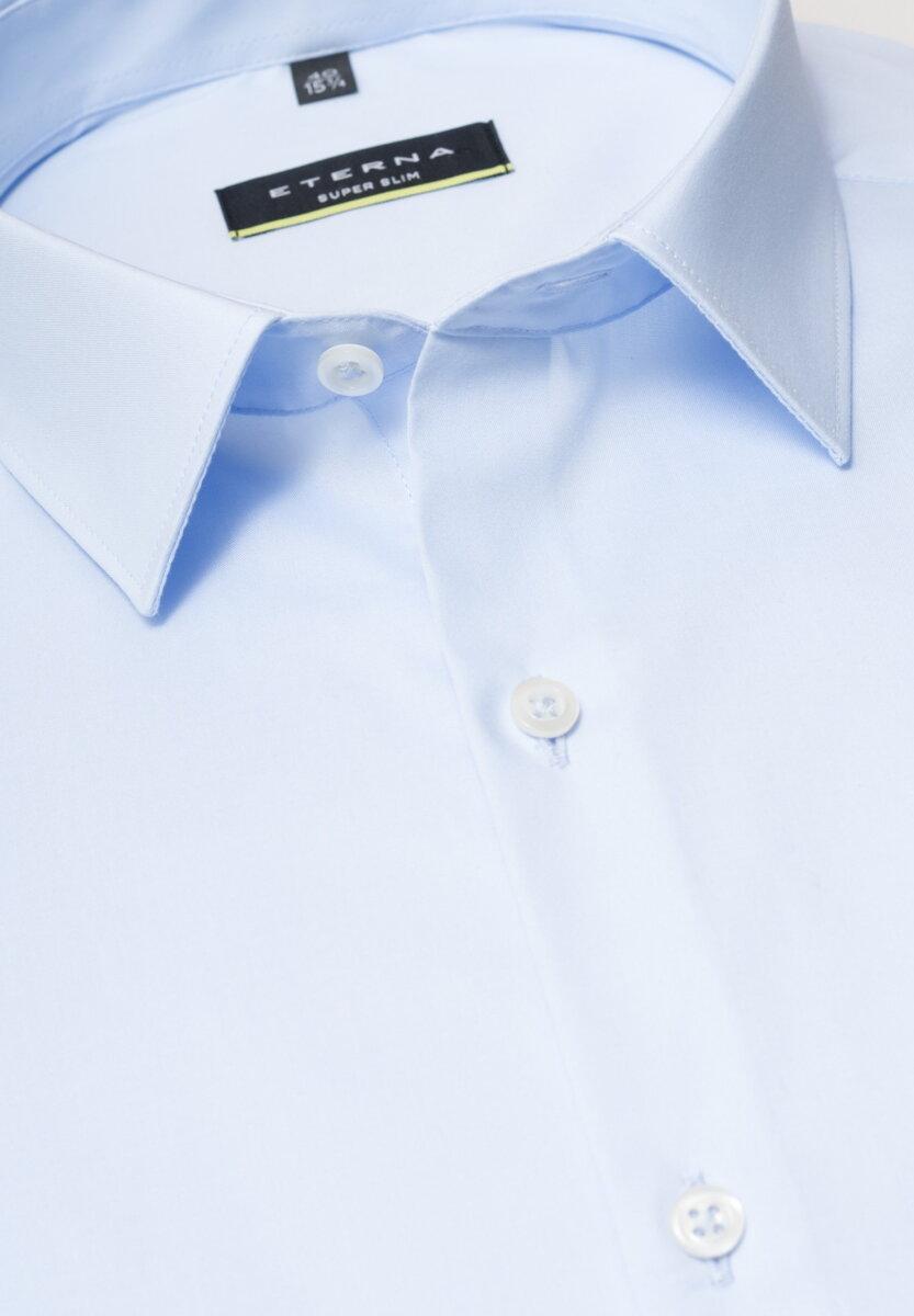 7f3fbfc44866 ETERNA Super Slim elastická košeľa pánska svetlomodrá nežehlivá úprava  golier Mini Kent