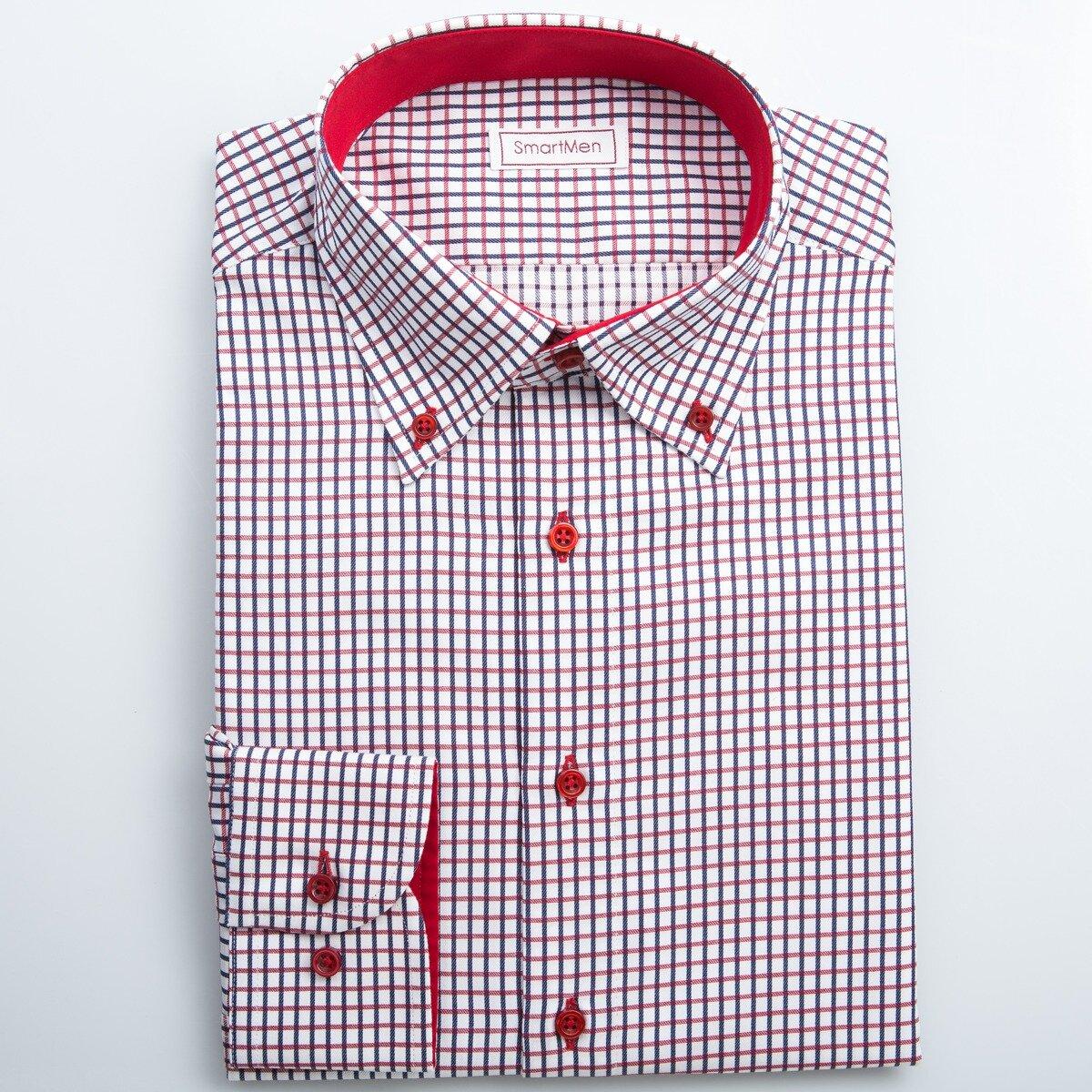 06eab8bcb99b Button-down košeľa kockovaná červená s gombíkmi tón v tóne SmartMen