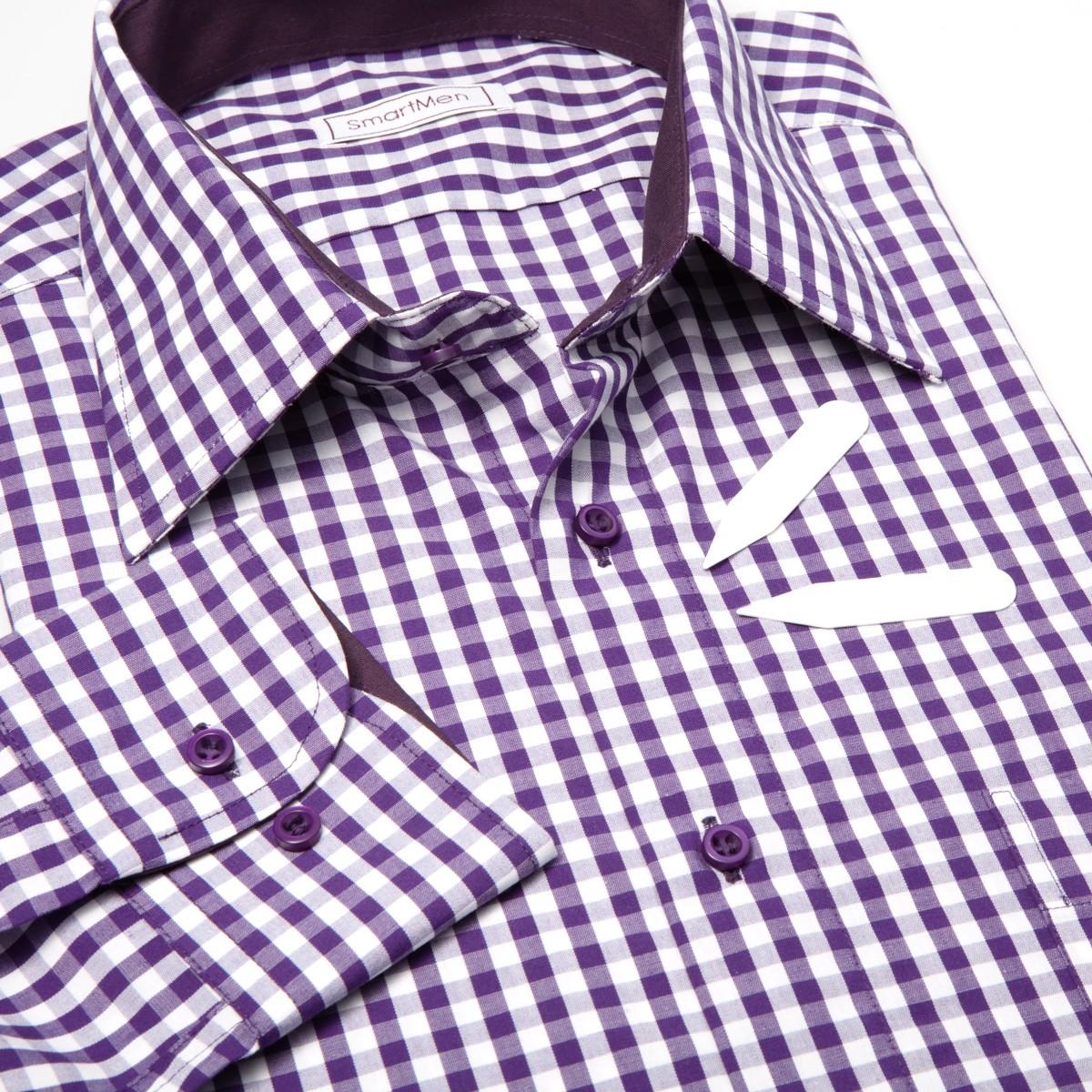 df4c059f4720 Fialová košeľa károvaná s kontrastom - Casual