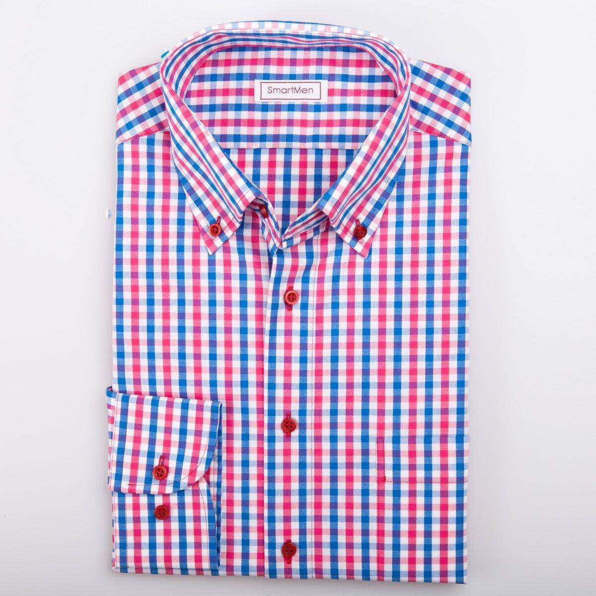 e0be792c1368 Červená kockovaná košeľa pre muža Casual - Button down SmartMen