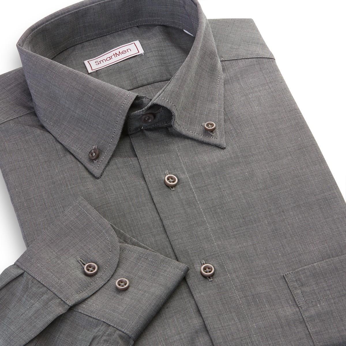 51484819c4a6 Pánska košeľa tmavo sivý melír dlhý rukáv Button-down