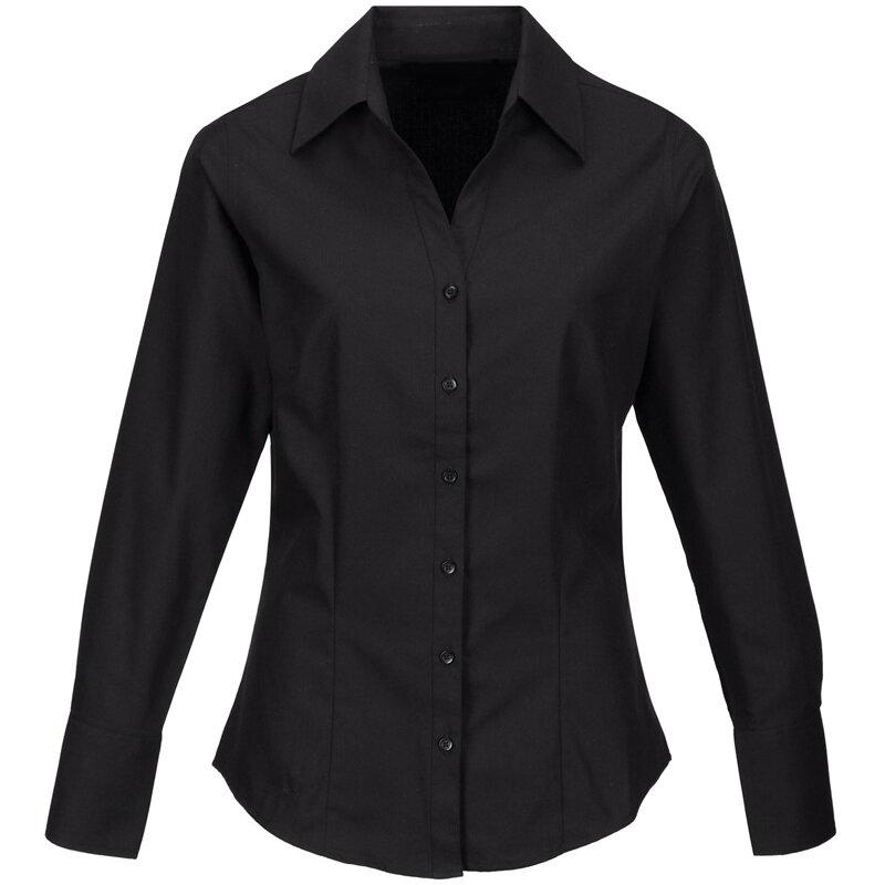 55242e6fb62e Pracovná košeľa dámska čierna dlhý rukáv 100 % bavlna s úpravou pre ľahké  žehlenie