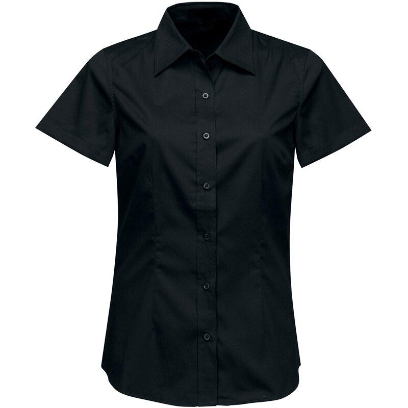 943b8e00a64d Firemná košeľa dámska čierna krátky rukáv 100 % bavlna s úpravou pre ľahké  žehlenie