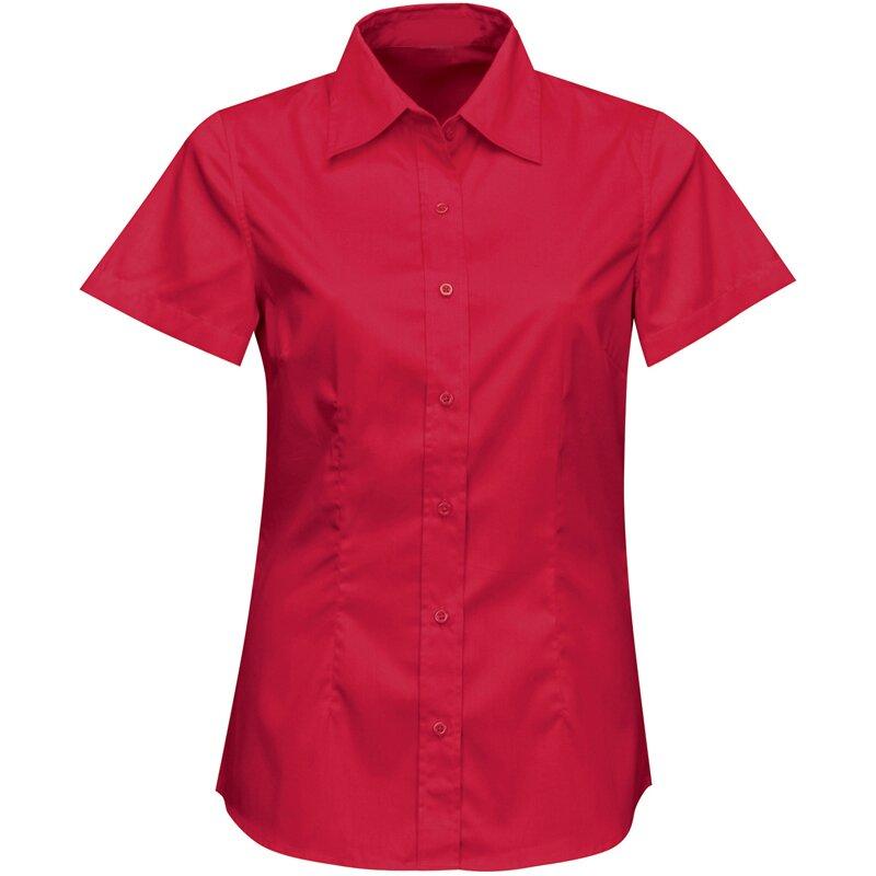 Firemná košeľa dámska červená krátky rukáv 100 % bavlna s úpravou pre ľahké  žehlenie a87152eb70