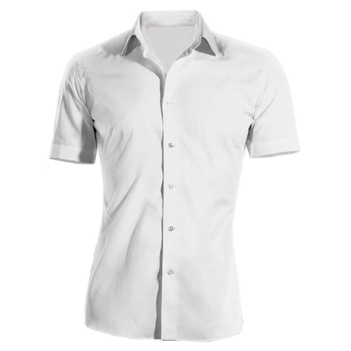 Pracovná košeľa pánska biela krátky rukáv 100 % bavlna s úpravou pre ľahké  žehlenie 971712b0a7