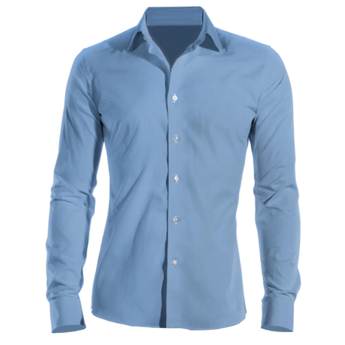 9abd54e4e9f0 Firemná košeľa pánska modrá dlhý rukáv 100 % bavlna s úpravou pre ľahké  žehlenie