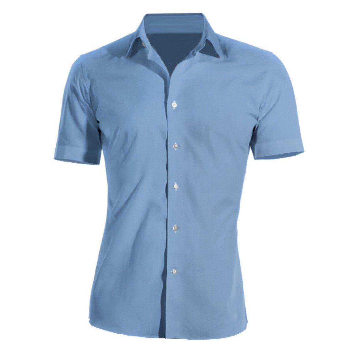 685aea59033a Firemná košeľa pánska modrá krátky rukáv 100 % bavlna s úpravou pre ľahké  žehlenie