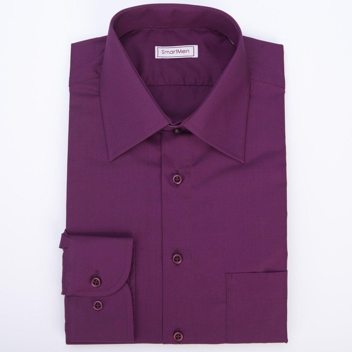 1ad4c7316fa1 Fialová jednofarebná košeľa s gombíkmi tón v tóne SmartMen