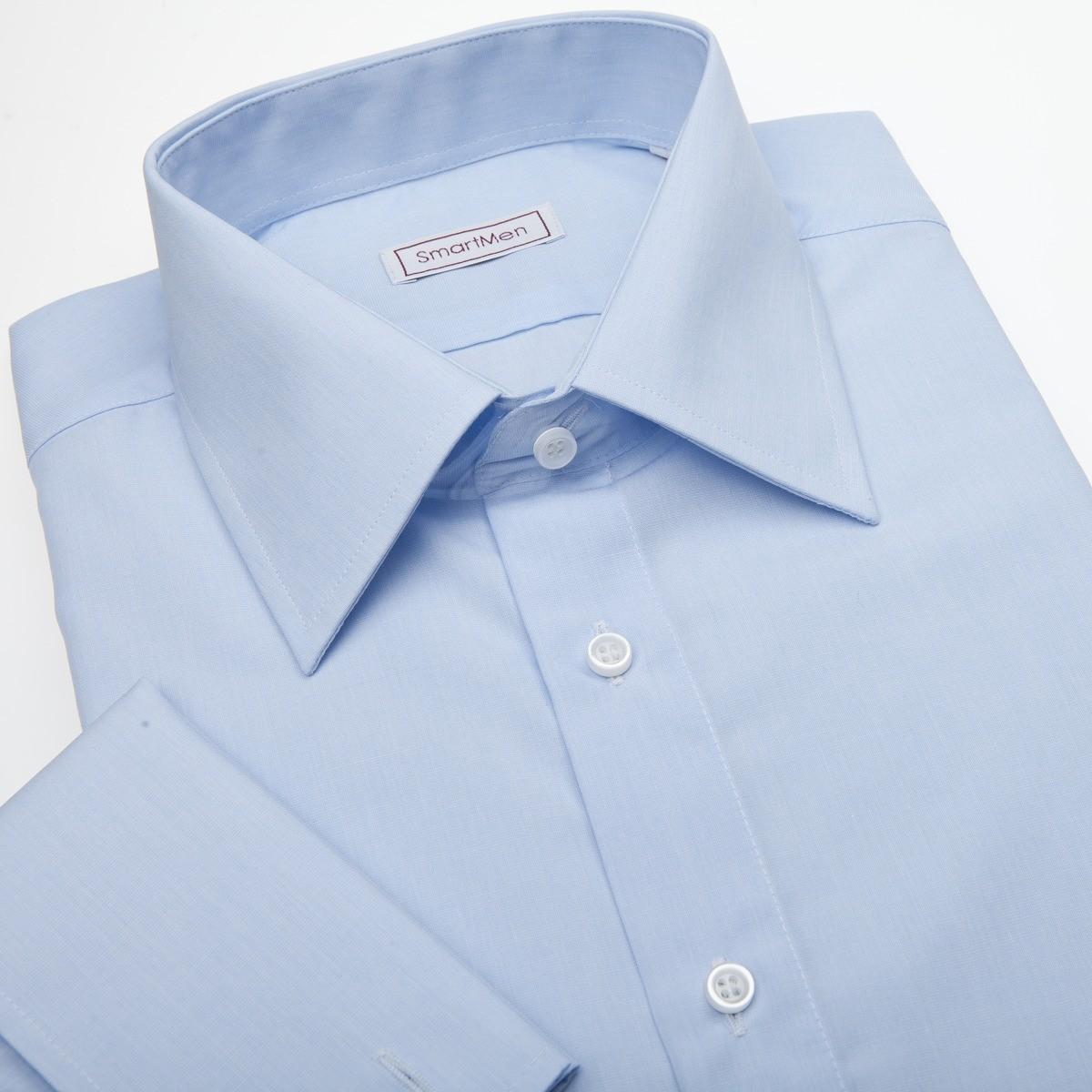 0738f83f4080 Spoločenská modrá košeľa s manžetovými gombíkmi Easy-care