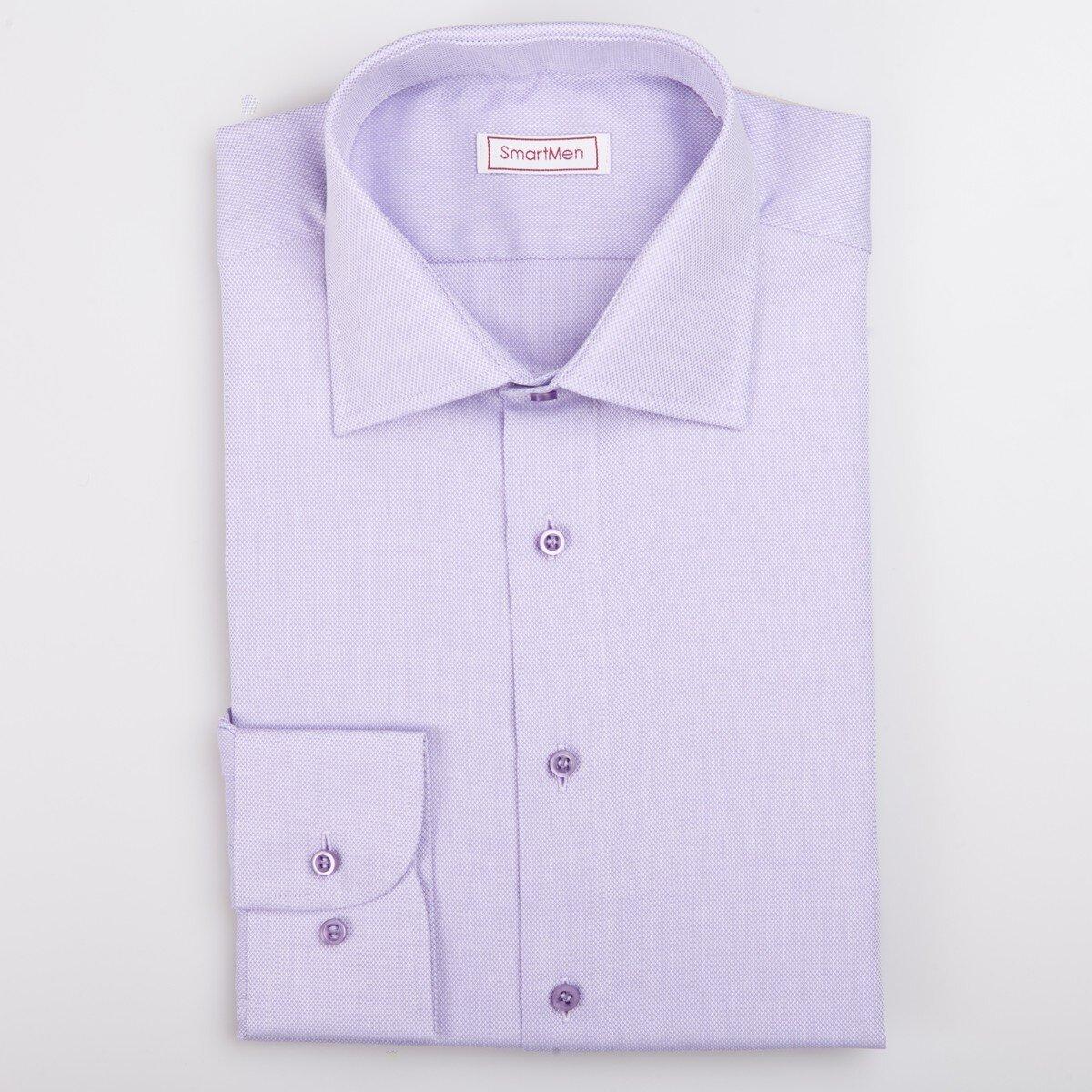 03caa0991733 Fialová pánska košeľa Oxford látka gombíky tón v tóne SmartMen