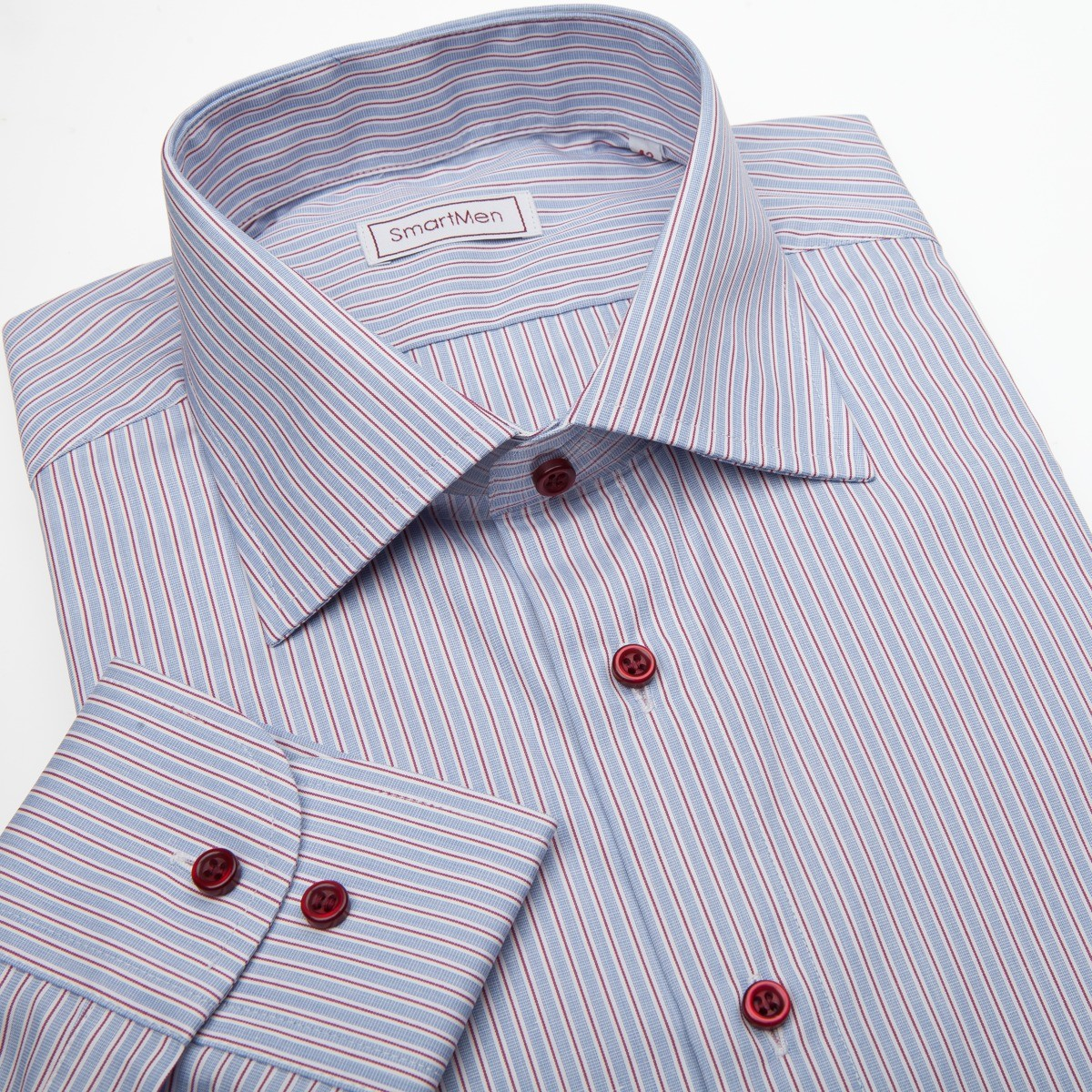 1db94d2226b9 Pánska košeľa modrá s červenou linkou a červenými gombíkmi