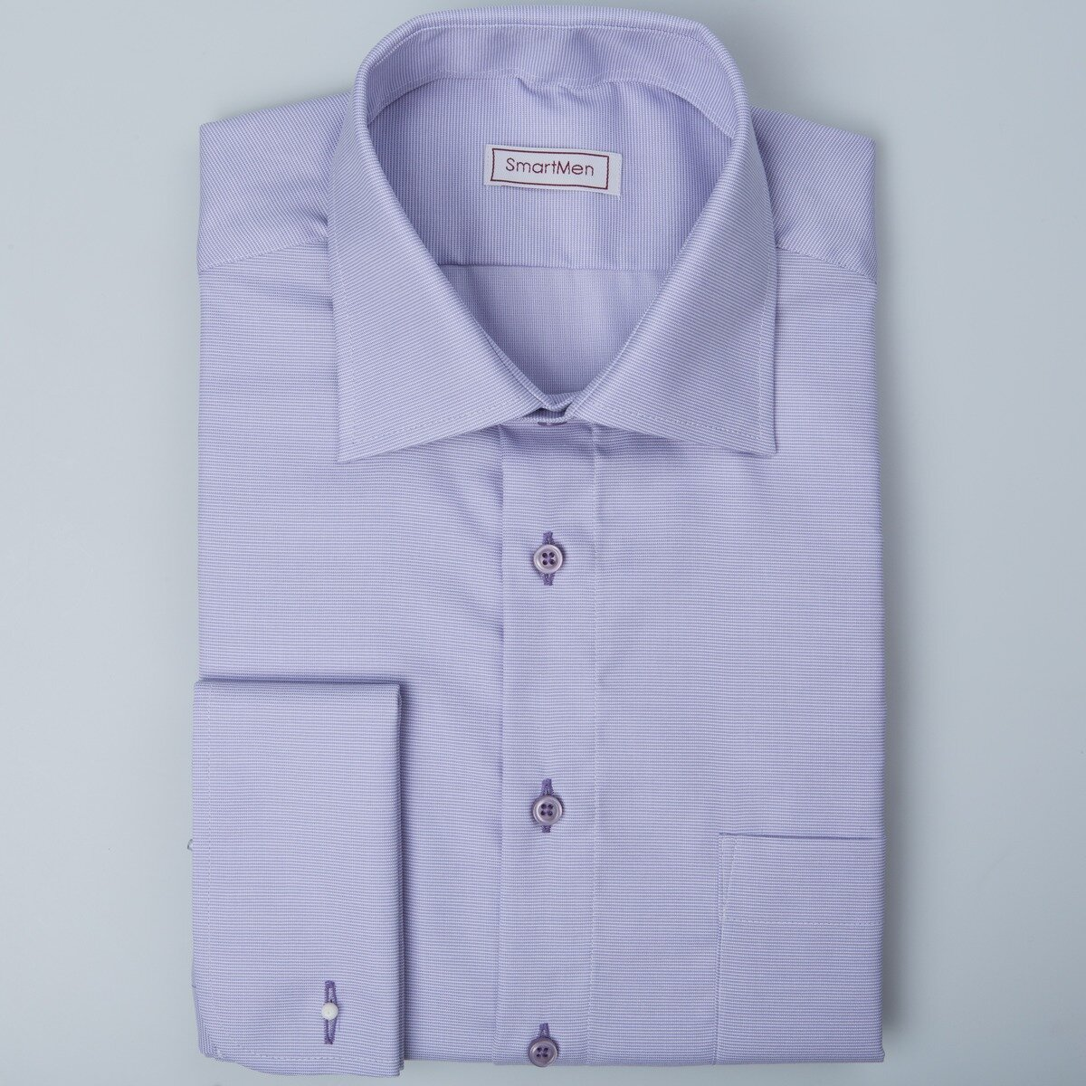 9046e28d5c81 Fialová košeľa s manžetovými gombíkmi do obleku SmartMen