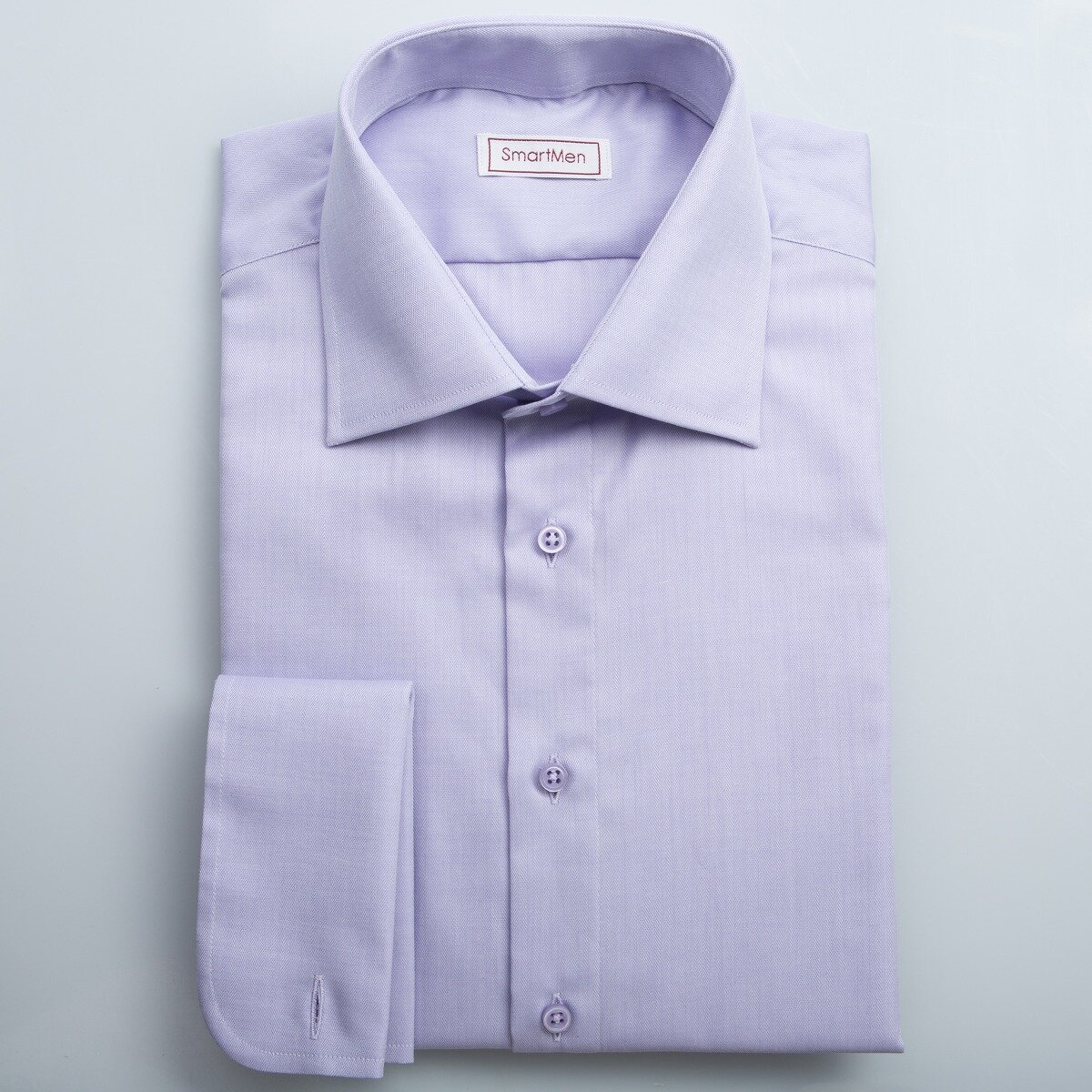 706ee6ac51ca Fialová košeľa s manžetovými gombíkmi do pánskych oblekov SmartMen