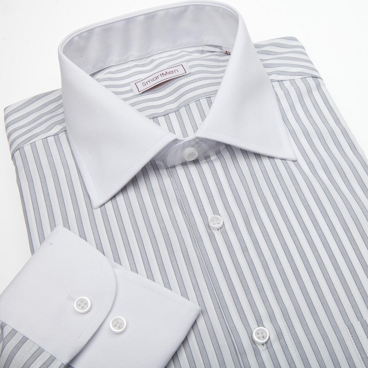 5a2b5aa7a1ff Pánska košeľa sivý prúžok - biely golier a manžeta