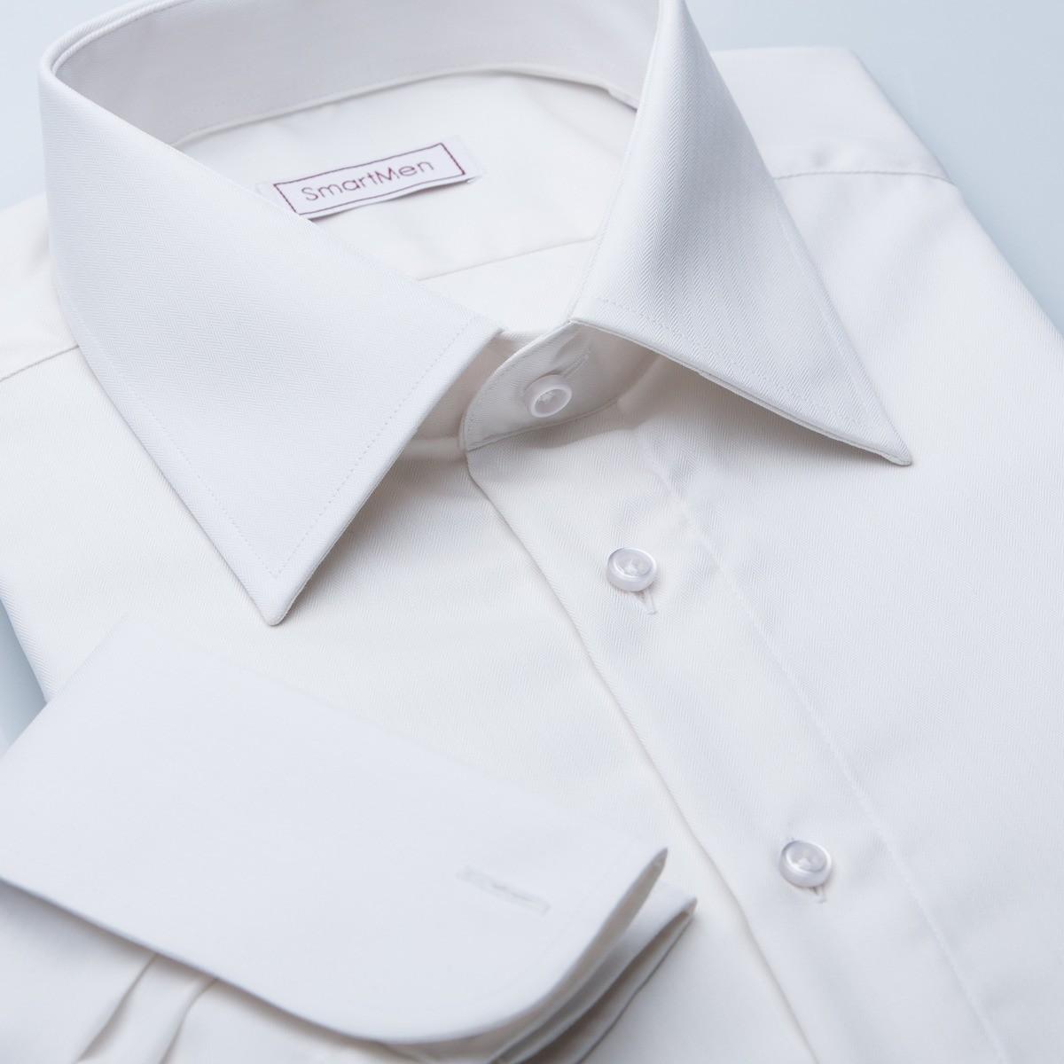 b5819109b781 Svadobná smotanová košeľa s manžetovými gombíkmi