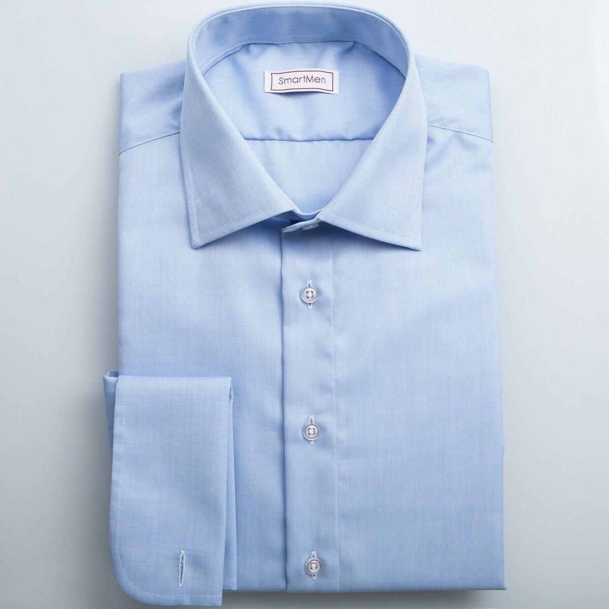 ac7e7d4cd5e3 Modrá košeľa pánska luxusná na manžetové gombíky SmartMen