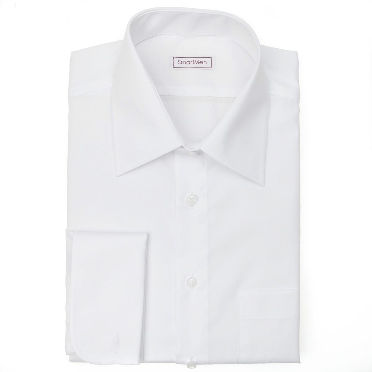 36883f724186 Biela košeľa s manžetovými gombíkmi Non Iron SmartMen