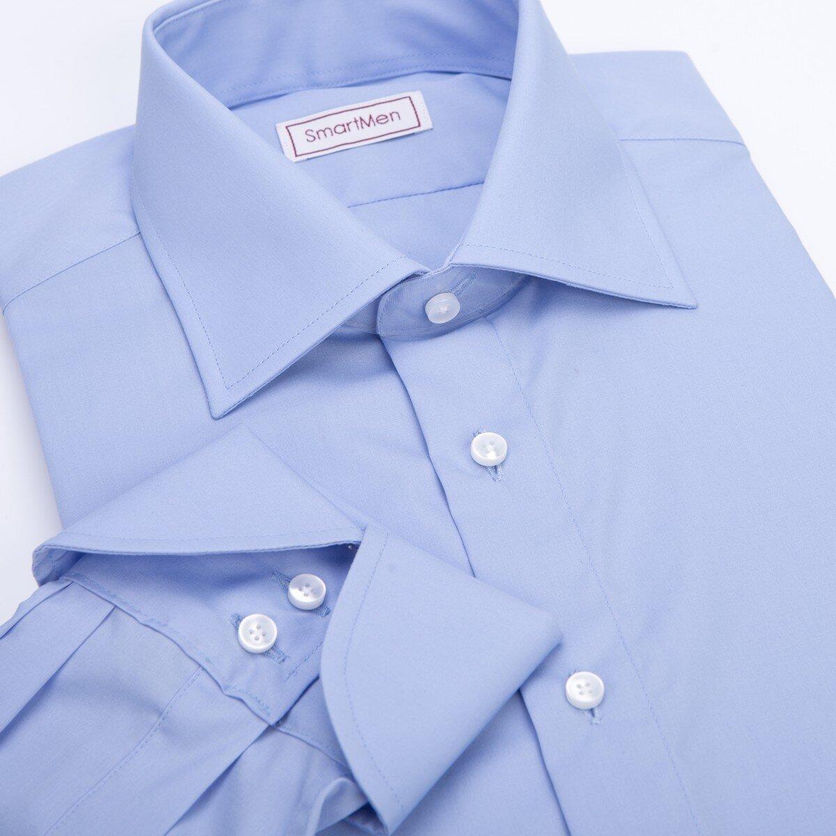 cc4f14e7132c Spoločenská modrá košeľa manžeta James Bond