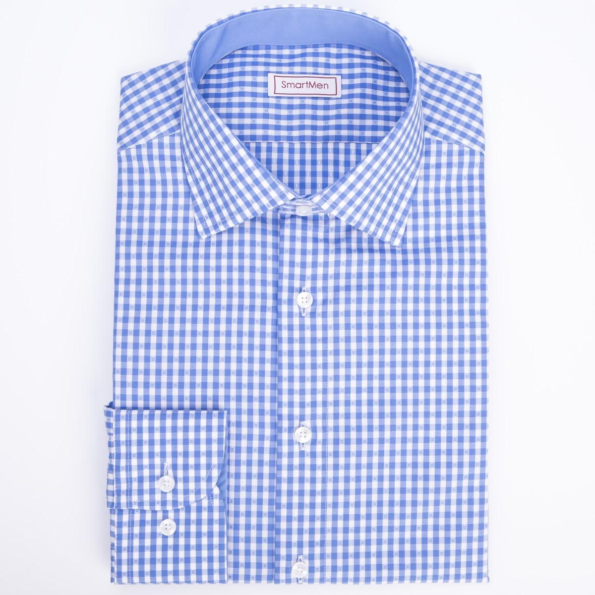 b6207b888a7d Kockovaná modrá košeľa SmartMen s modrým kontrastom