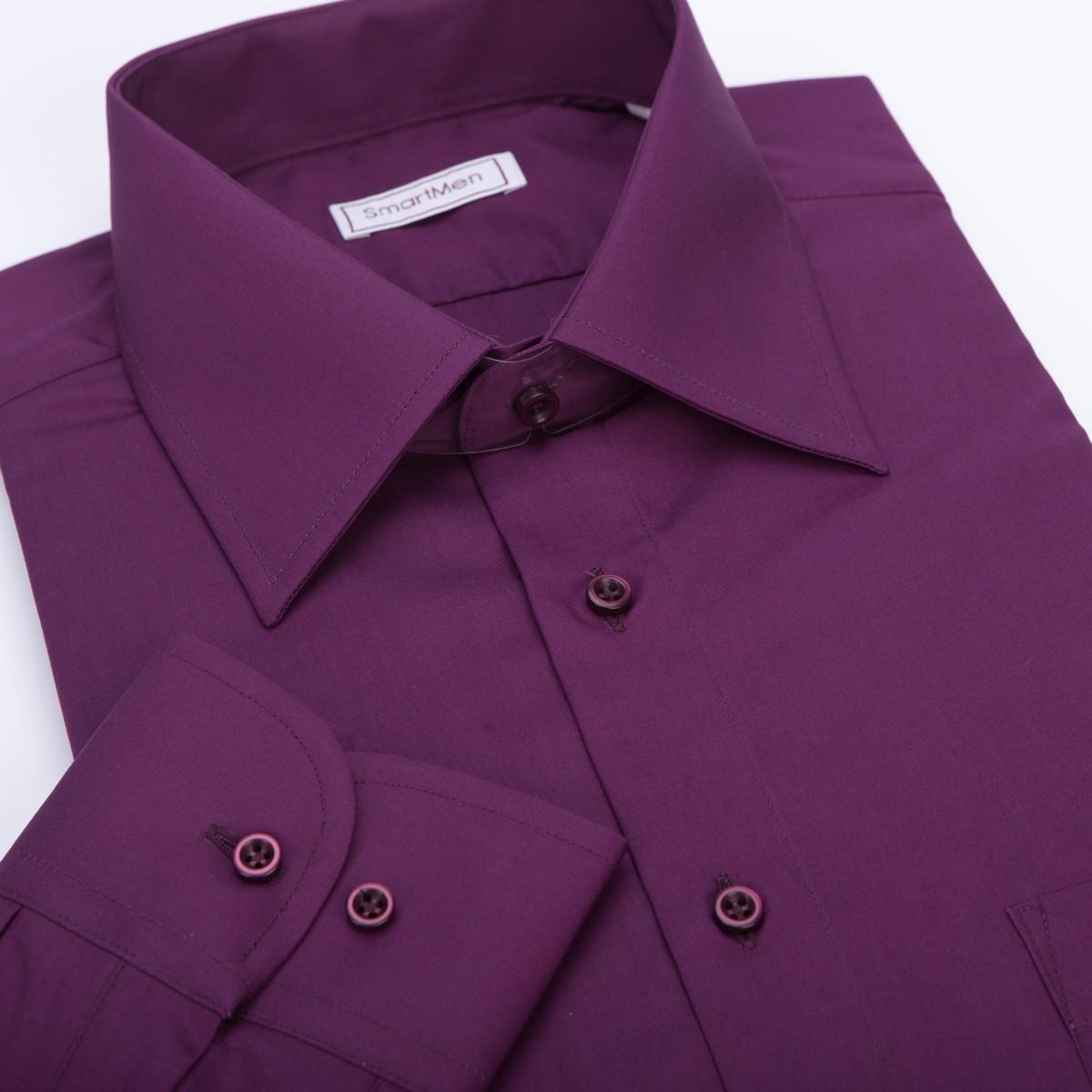 1a6260529107 Semi-formal fialová party košeľa s dlhým rukávom