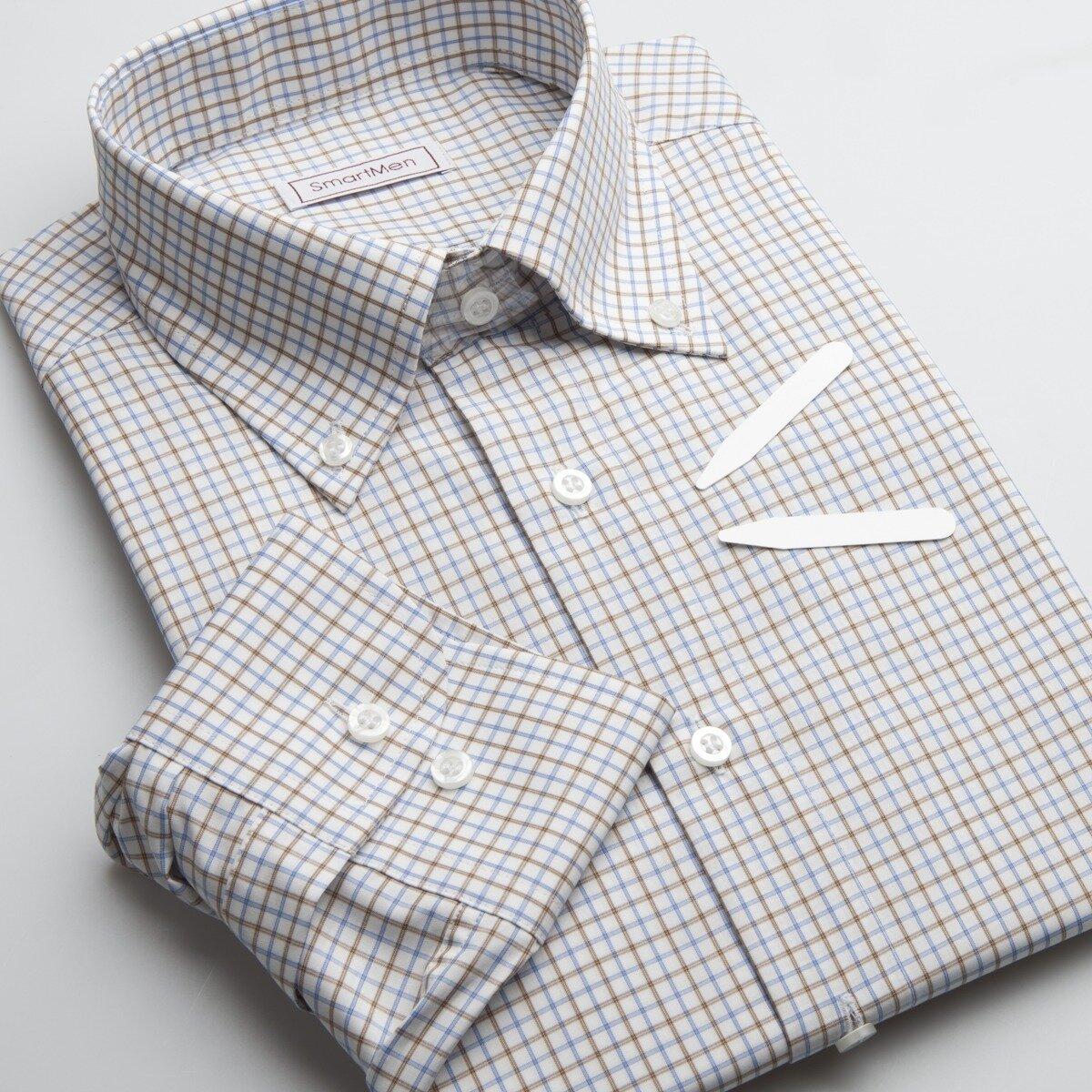 e72aacaced Pánska hnedá košeľa károvaná - Button down Slim