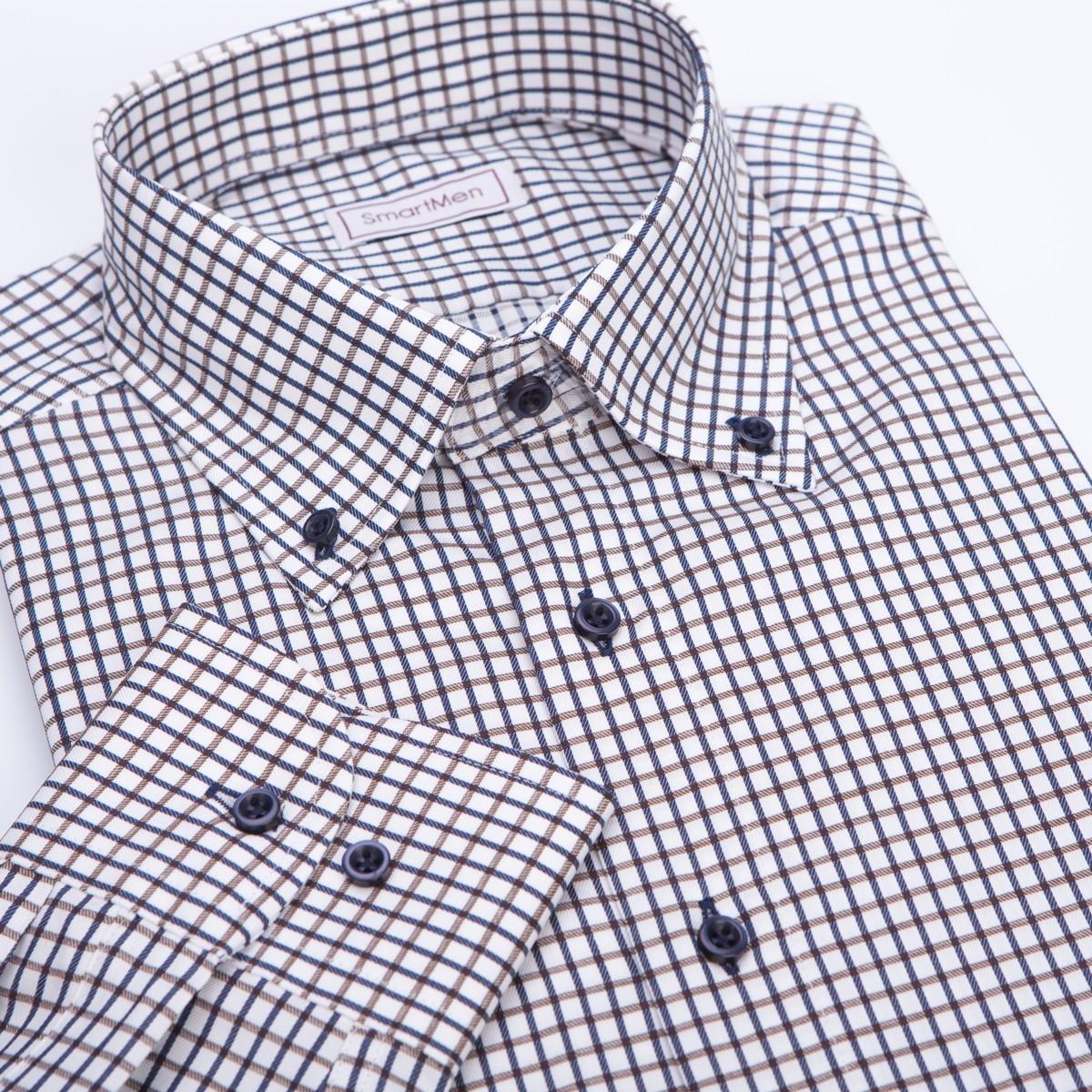41a0599903 Casual košeľa károvaná hnedá s modrou Button-down