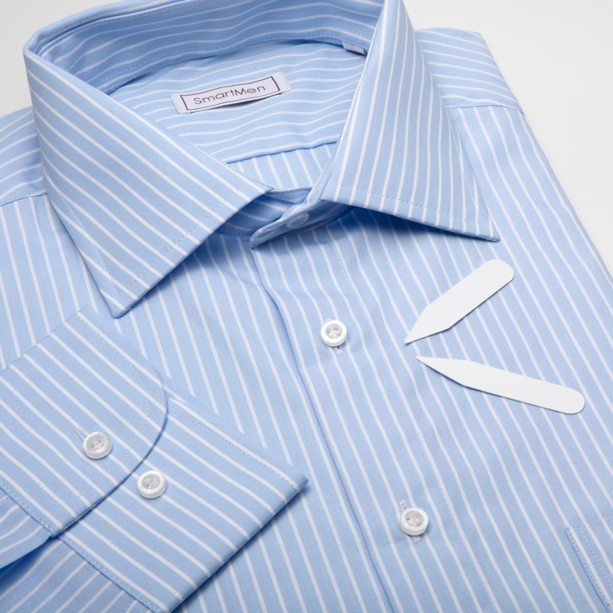 8abf94d16847 Pánska košeľa modrý prúžok -50%