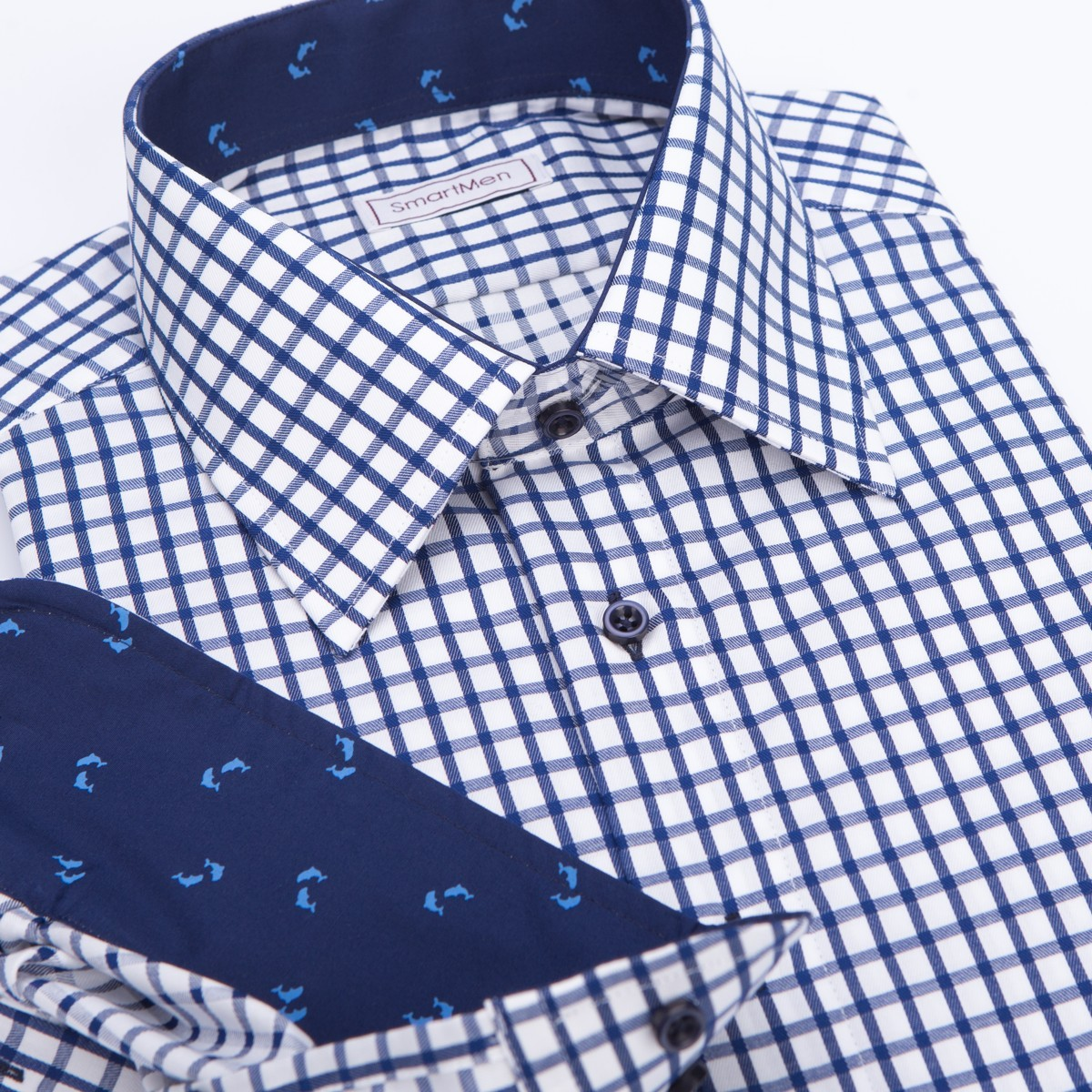 2682e2d9d519 Casual pánska košeľa modrá kockovaná s delfínmi