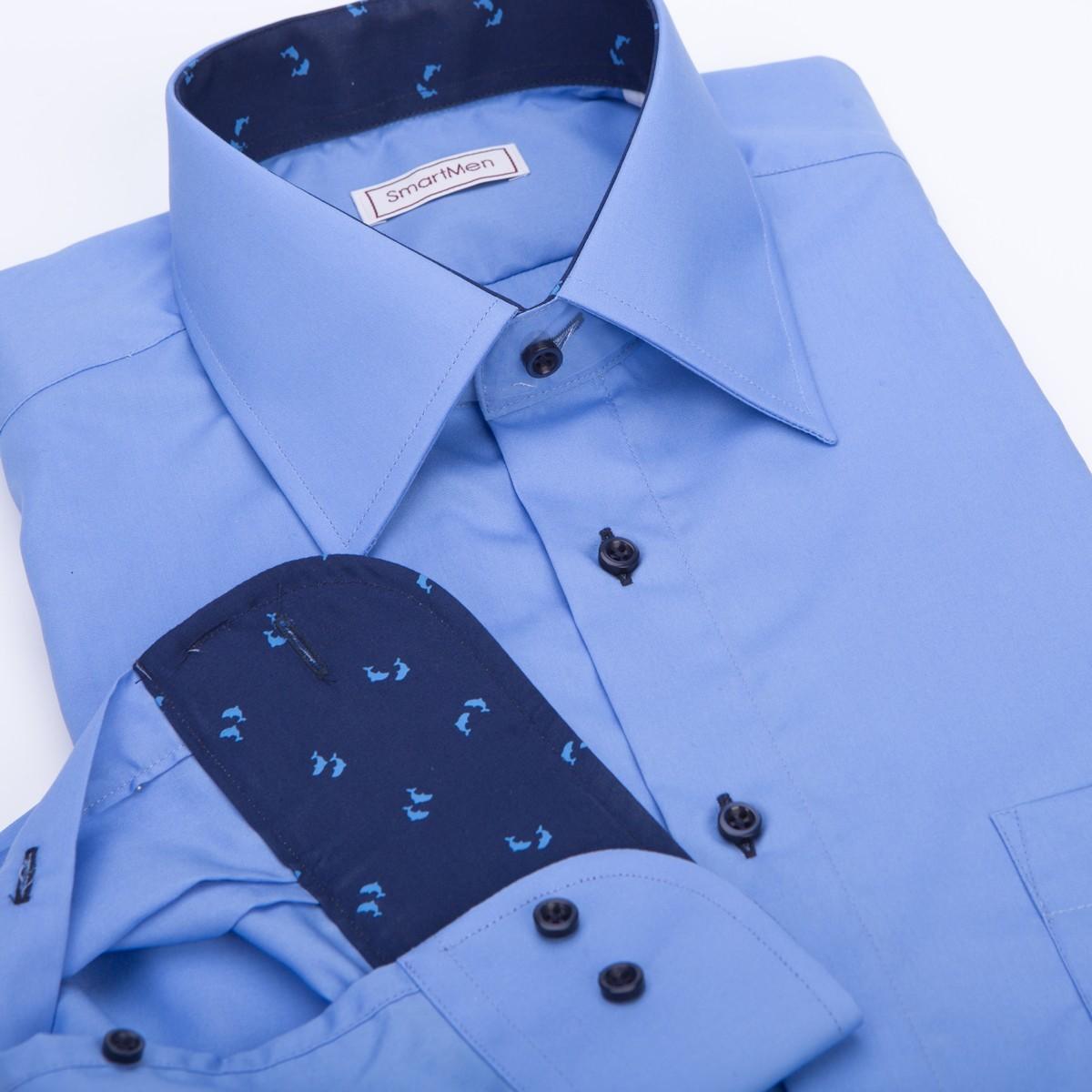Business Casual pánska košeľa oceánovo modrá s delfínmi 108a68dc6ac