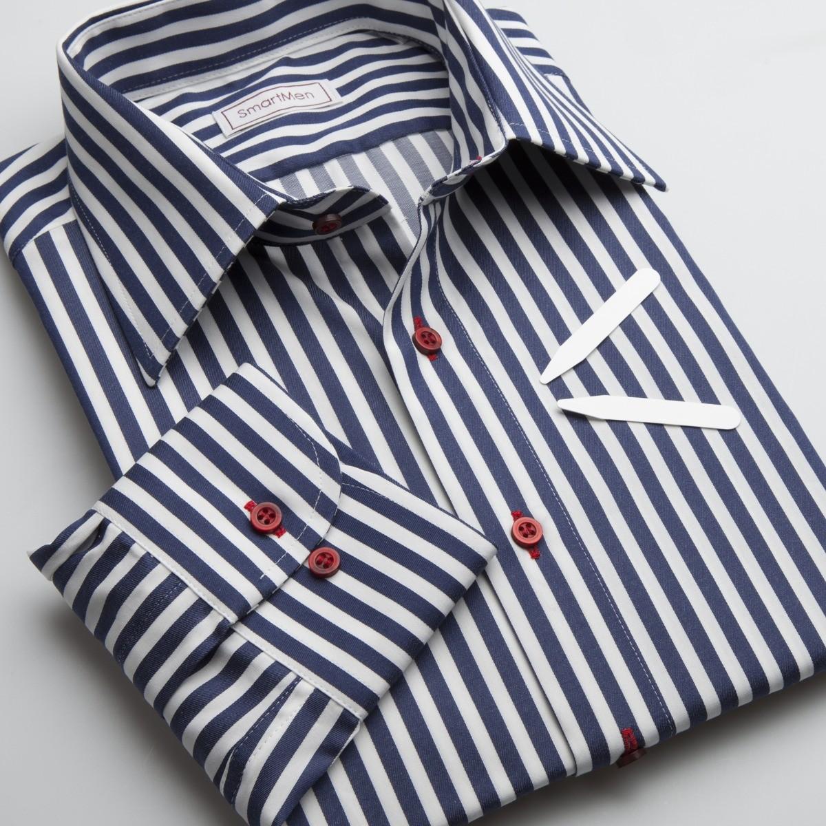 d833adb1ea9c SmartMen  Pánska košeľa modrý prúžok - NAVY BLUE