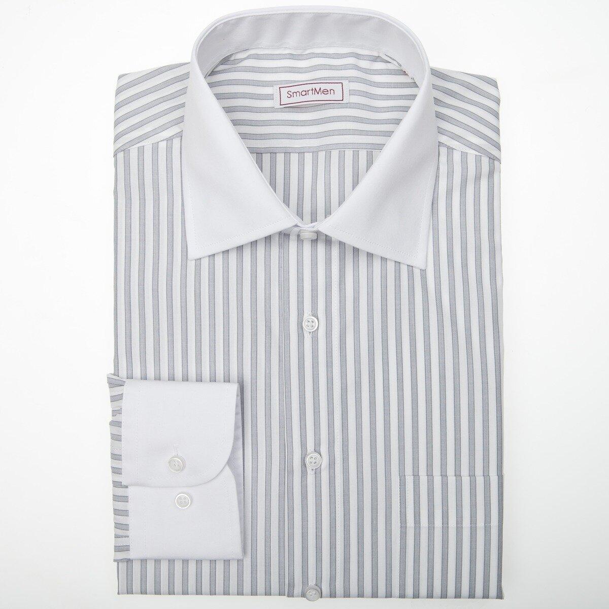 78588c2e54fa Elegantná pánska košeľa sivý prúžok - biely golier a manžety SmartMen