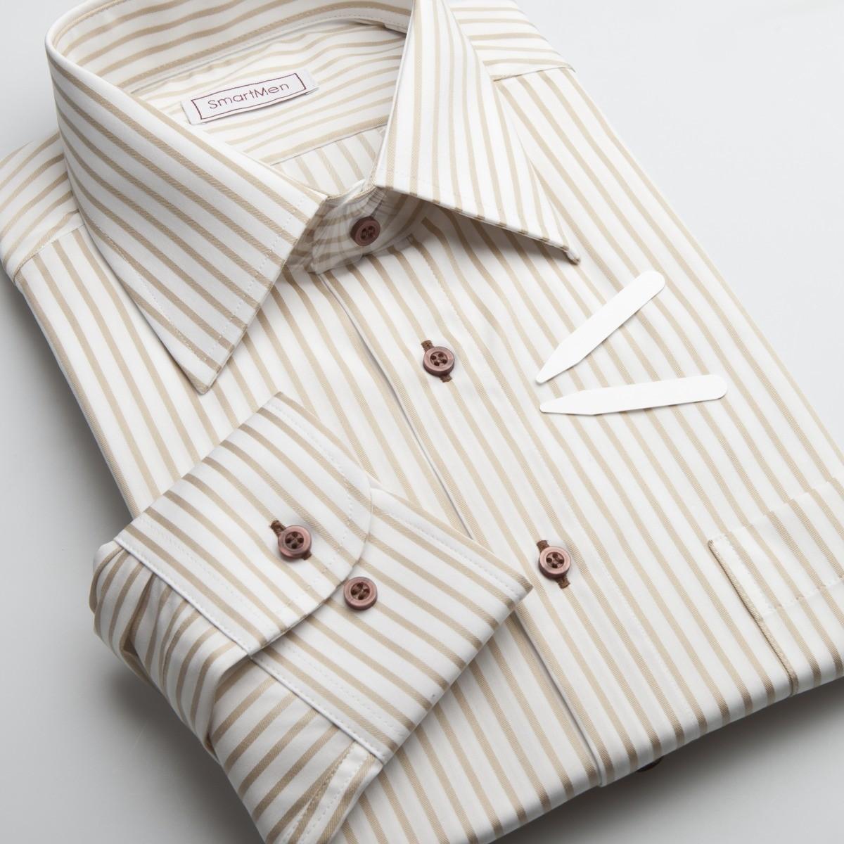 903043f07b1c Pánska košeľa svetlo hnedý prúžok Non Iron - nežehlivá