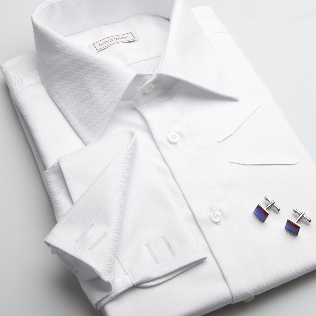 b67f4f8776ab Pánska luxusná košeľa biela s manžetovými gombíkmi