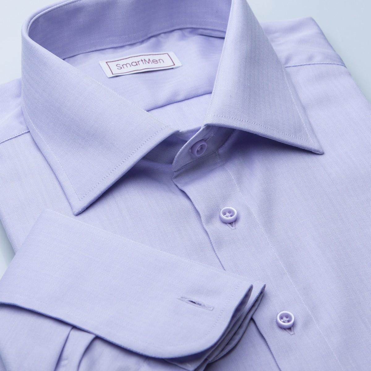 cebfdf6109bf Luxusná košeľa fialová Slim fit Herringbone na manžetové gombíky